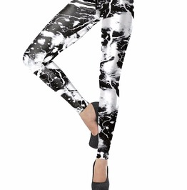 Gothic White Laser Lightning 3 D Print Leggings For Women