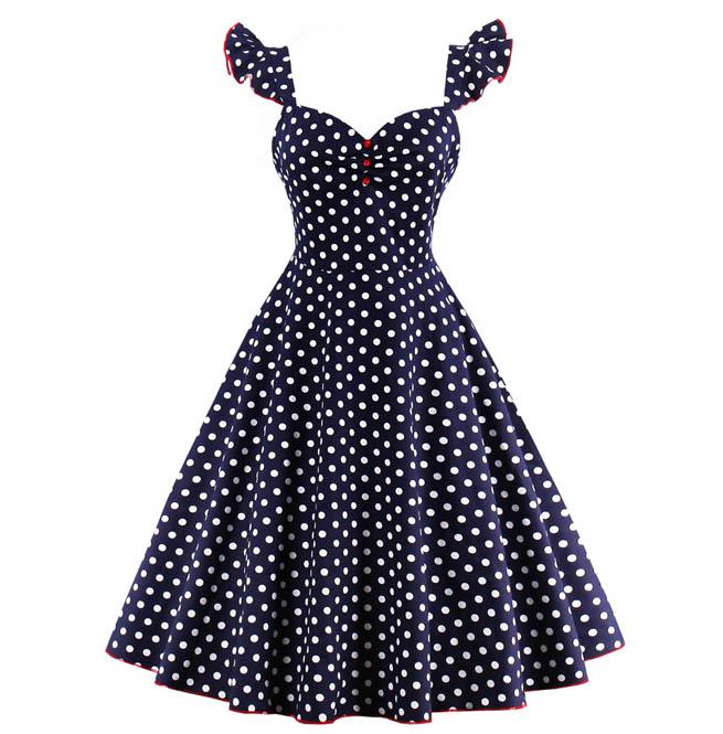 Womens Pin Up Rockabilly Polka Dot Dress Plus Size 142065