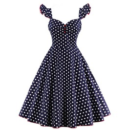 Women's Pin Up Rockabilly Polka Dot Dress Plus Size