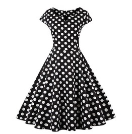 Women's Swing Polka Dot Black Vintage Rockabilly Dresses