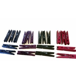 Set Of 5 Different Color Pinch Pins Hand Dyed Clothes Pins