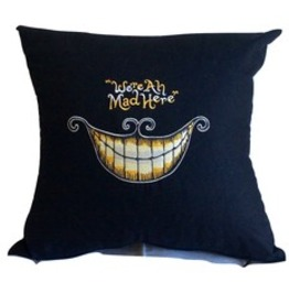 "Handmade Embroidered ""We're All Mad Here"" Madhatter Cushion Pillow Cover"