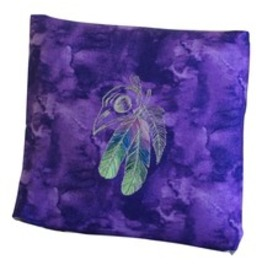 Handmade Embroidered Bird Skull With Colorful Feathers Purple Pillow Cover
