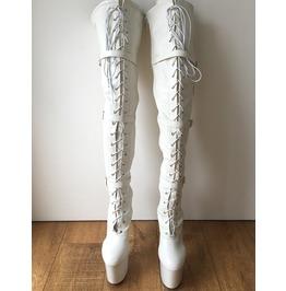 Tatiana 20cm Platform Heel Fetish Crotch Hi Buckle Strap Boots White Matte