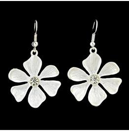 Boho Sterling Silver Delicate Shell Flower Allure Crystal Drop Earrings