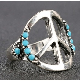 Stylish Fashion Retro Vintage Antique Silver Peace Sign Band Ring