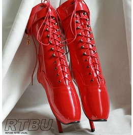 "18cm 7"" Ballet Pointe Fetish Shiny Patent Red Leather Like Laceup Calf Boot"