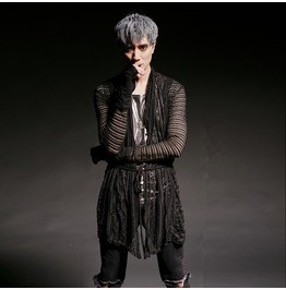 Gothic Punk Men's Sheer Mesh Open Rope Cardigan