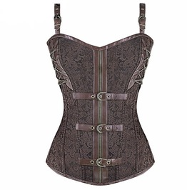 Brown Steampunk Overbust Corset With Buckles And Shoulder Straps Plus Size
