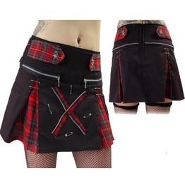Women Death Rock Short Tartan Skirt Gothic Mini Kilt Skirt For Women Studs