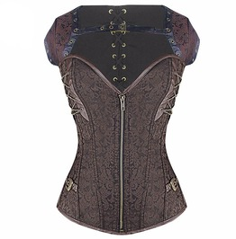 Brown Steampunk Spiral Boned Overbust Corset With Chains And Buckles