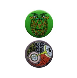 Geometric Owl, Eyeball In Space Set Of 2 Pin Badges