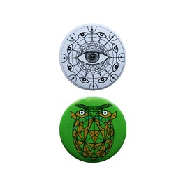Geometric Owl ,Trippy Pin Badges Set Of 2 Trippy Accessories