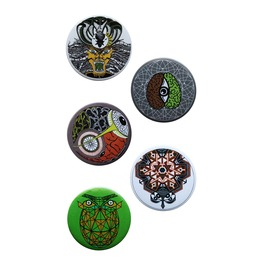 Set Of 5 Pin Badges Set Art Accessories Bagpack Pins