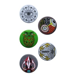 Button Badge Set Of 5, Pin Badge Set Of 5 Art Pins