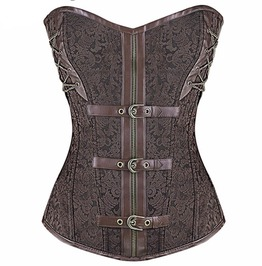 Brown Buckled And Chained Steampunk Overbust Corset