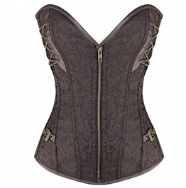 Brown Steampunk Steel Boned Overbust Corset With Zipper Plus Size