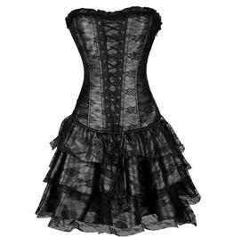 Gothic Overbust Ruffled Corset Party Burlesque Dress Plus Size