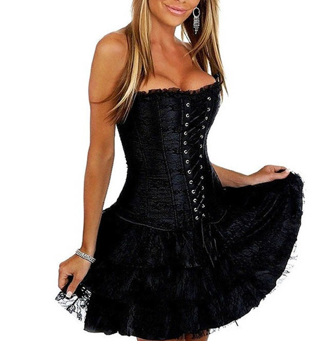 Gothic Overbust Ruffled Corset Party Dress Plus Size