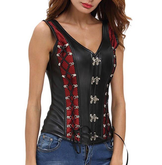 e5ea302f22 Gothic Faux Black Leather Harness Overbust Corset Plus