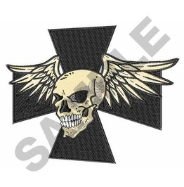 Embroidered Maltese Cross With Winged Skull Iron/Sew On Patch