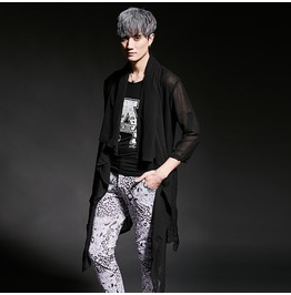 New Arrival Shirt Style Men's Thin Fabric See Through Coat