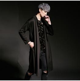 New Street Fashion Men's Black Casual Trench Coat