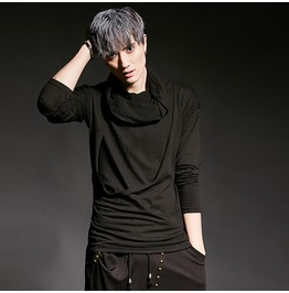 Fashion Casual Slim Fit Tee Shirts Men's Black Tshirt