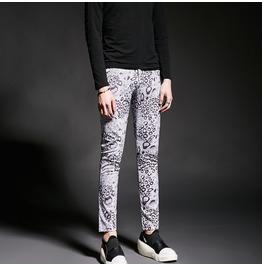 Korean Fashion Men's Print Skinny Pants