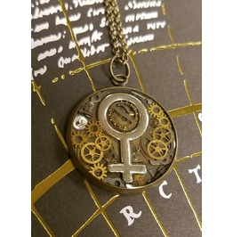 Feminist Female Symbol Steampunk Pendant With Gears Handmade Art Jewelry