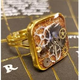 Shiny Gold Steampunk Ring With Gears Cogs & Watch Parts Adjustable Handmade