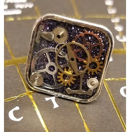 Shiny Silver Steampunk Ring With Gears Cogs Watch Parts Adjustable Handmade