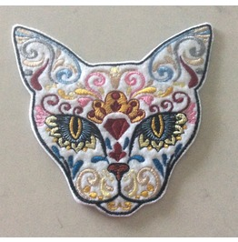 Embroidered Day Of The Dead Cat Patch Badge Sew/Iron On Mexican Cat Patch