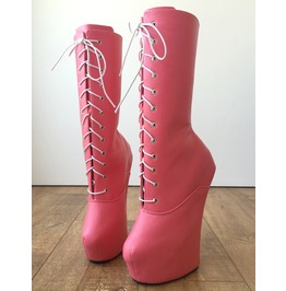 Myli Hoof Sole Heelless Mid Calf Boots Custom Made To Order Eraser Pink