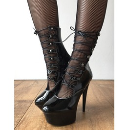 Spider 15cm Platform Hi Heel Fetish Goth Corset Lace Up Calf Boots