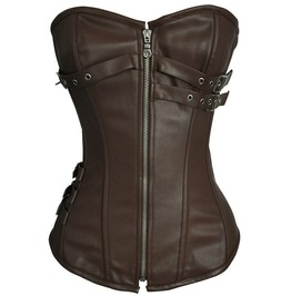 Vintage Zip Up Buckle Straps Overbust Corset