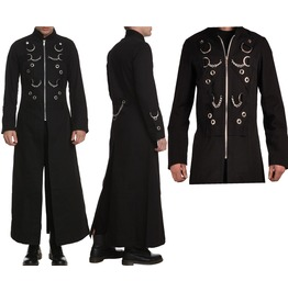Men Hellraiser Long Coat Gothic Punk Industrial Vampire Jacket Goth Trench