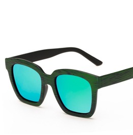 Retro Tainted Glasses Sunglasses Wood Green