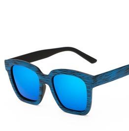 Retro Blue Tainted Glasses Sunglasses Wood Color
