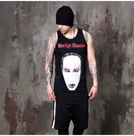 Marilyn Manson Printed Round Hem Long Tank 100