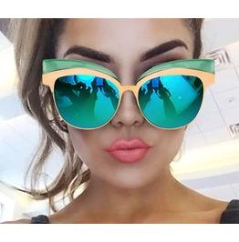Gold Mirror Black Blue Cat Eye Sunglasses Women's