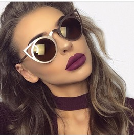 Cat Eye Metal Sunglasses Bronze Women's