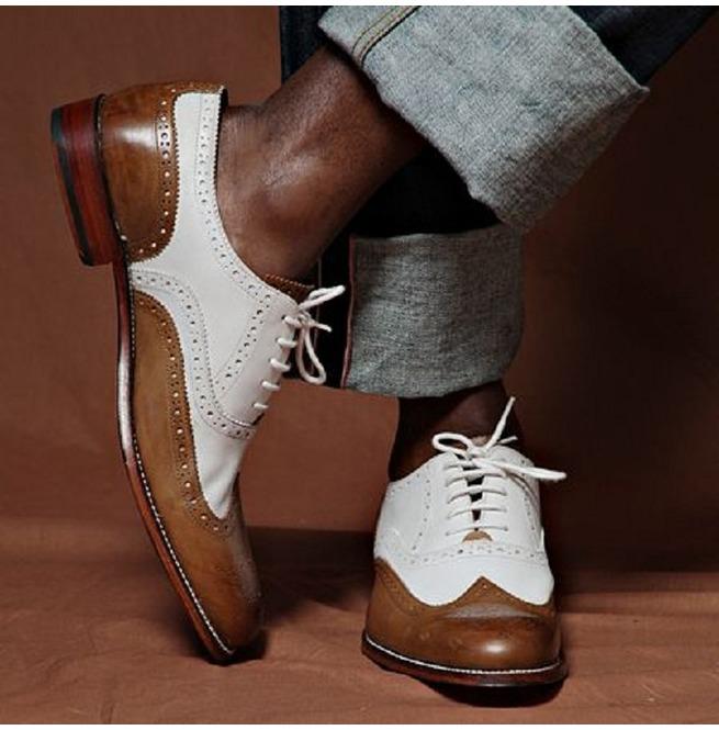 Handmade Men Spectator Shoes, Two Tone