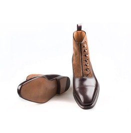Handmade Men Two Tone Button Boot, Men Brown Ankle Boots, Men Formal Boot