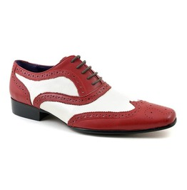 Handmade Men Spectator Shoes, Men Red White Shoes Men Wingtip Brogue Dress