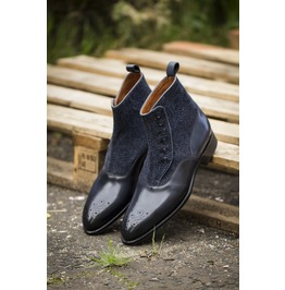 Handmade Men Two Tone Button Boot, Men Navy And Black Boot, Men Formal Boot