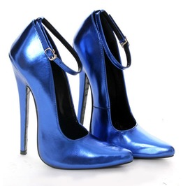 "18cm 7"" Stiletto Heel Fetish Handmade Metallic Blue Sharp Toe Mary Janes"