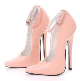 "18cm 7"" Stiletto Heel Fetish Handmade Faux Leather Sharp Toe Mary Janes"