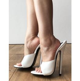 d662a8c8fd6 18 Mule Sexy Mistress Hi Heel Stiletto Fetish Slipper Slides Mule White