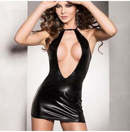 Black Wet Leather Look Plunge Front Mini Dress Fetish 8 22